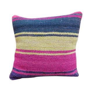 Pink & Blue Peruvian Frazada Pillow For Sale