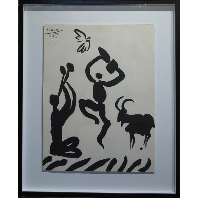 "Pablo Picasso - Dancer & Goat - 1959 Lithograph -Pencil Signed frame size 28 x 34"" paper size 19 x 26"" Pablo Picasso..."