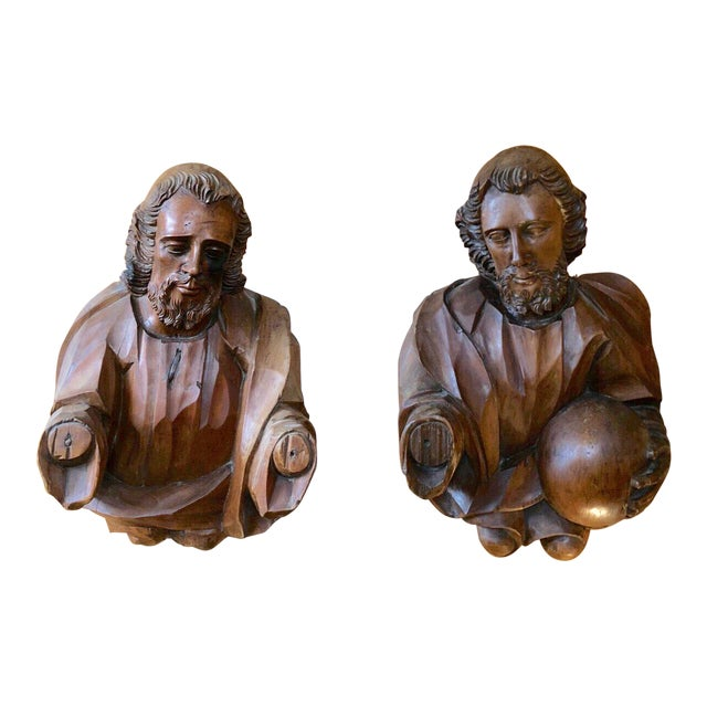 17th Century Baroque German Carved Wood Apostle Busts - A Pair For Sale