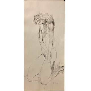 """Don Stacy """"Head Down"""" C. 1950 Ink Wash Mid Century Nude Drawing For Sale"""