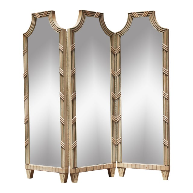 Vintage Large Mirrored Pagoda Screen / Room Divider / Would Be Cool Headboard For Sale