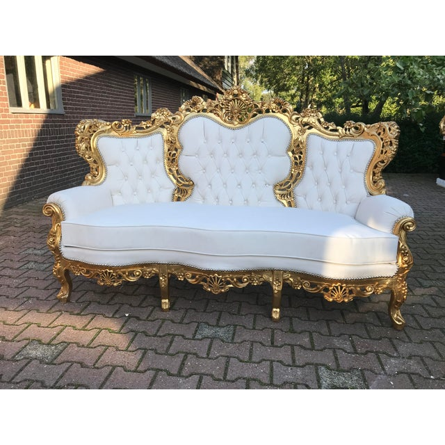 Wood 1940's Italian Rococo Living Room Set- 3 Pieces For Sale - Image 7 of 12
