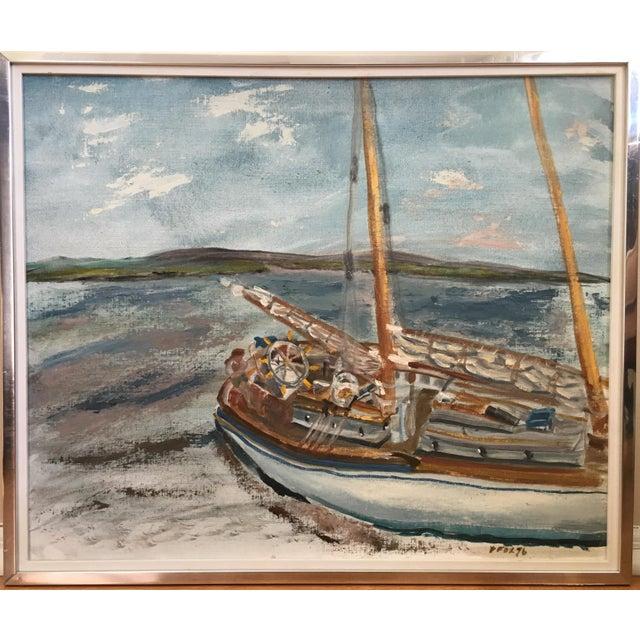 Vintage Mid Century Impressionist Oil Painting Seascape For Sale - Image 11 of 11