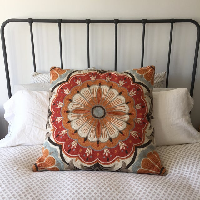 Large Suzani Crewelwork Pillow - Image 5 of 7