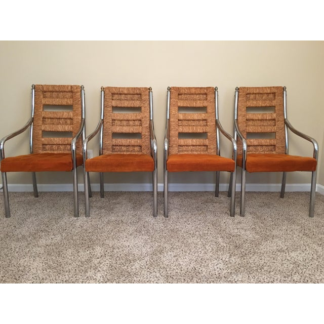 Vintage Modern Chrome & Rush Back Chairs by Chromcraft - Set of 4 For Sale - Image 11 of 11