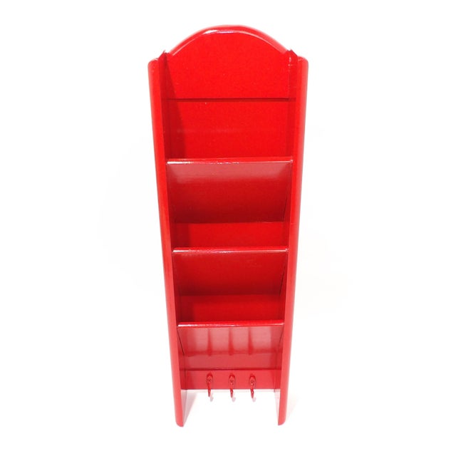 Mid-Century Modern Red Mail Key Slot Organizer For Sale - Image 4 of 11