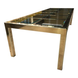 Mastercraft 10' Brass Glass Extendable Parsons Dining Table For Sale