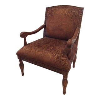Rust & Gold Chenille Upholstered Chair For Sale