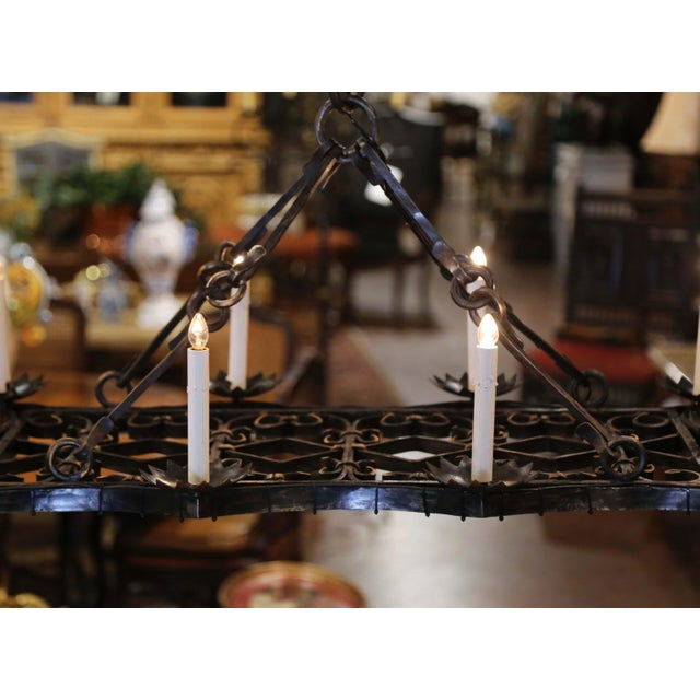 Metal 19th Century French Gothic Forged Iron Flat Bottom Ten-Light Chandelier For Sale - Image 7 of 13