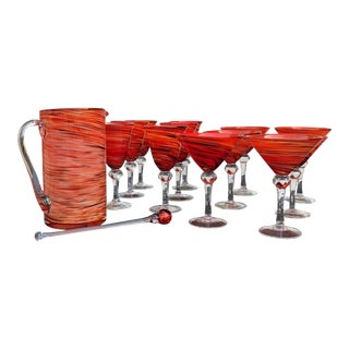 Hand Blown Red Orange Swirl Wine, Martini and Pitcher Glass Barware - Set of 14 For Sale