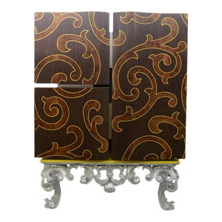Italian Rococo Style Marquetry and Silver Leaf Three-Door Cabinet on Base For Sale