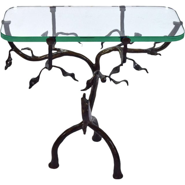 Vintage Twig and Owl Bronze Patinated Iron Table For Sale