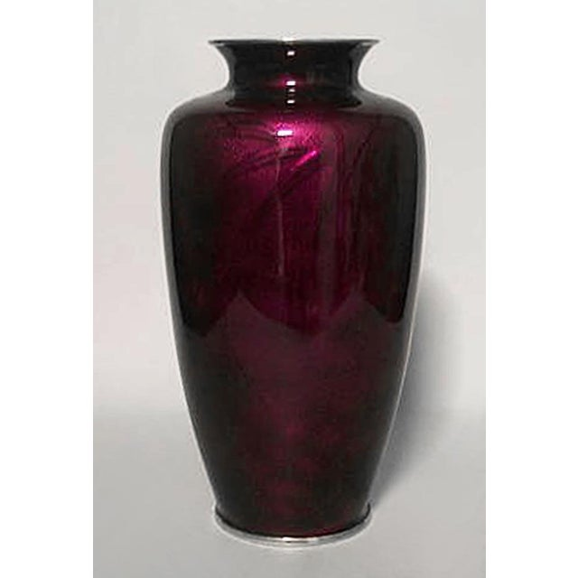 Asian Asian Japanese Style Red Enamel Overlay Glass Over Silver Vase For Sale - Image 3 of 3