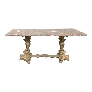 Early 20th Century Antique Venetian Baroque Marble Top Coffee Table For Sale