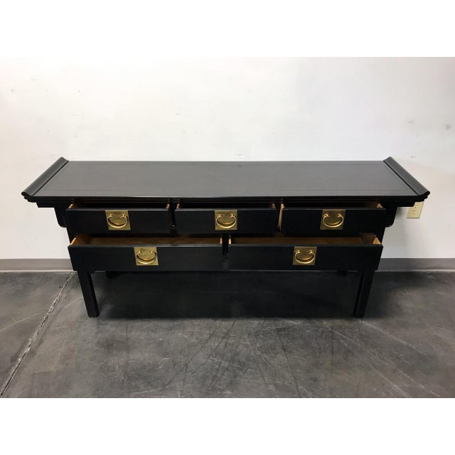 Century Black Console with Brass Hardware - Image 4 of 10