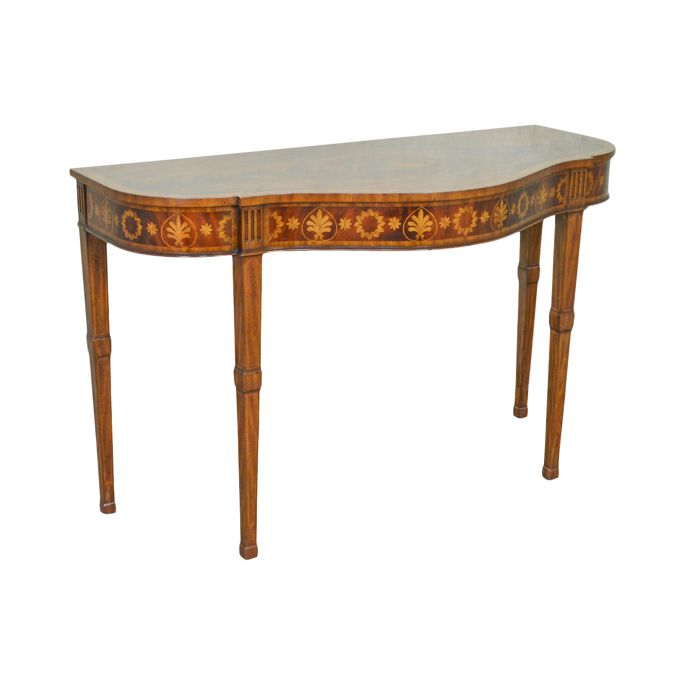 vintage console table. Maitland Smith Flame Mahogany Serpentine Inlaid Console Table Vintage
