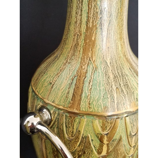 Ceramic Pair Ceramic Table Lamps - Fully Restored- Faux Marbleized Green Gold and Nickel Plated For Sale - Image 7 of 11