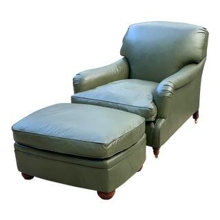 Modern Ralph Lauren Sage Green Leather Chair & Ottoman For Sale
