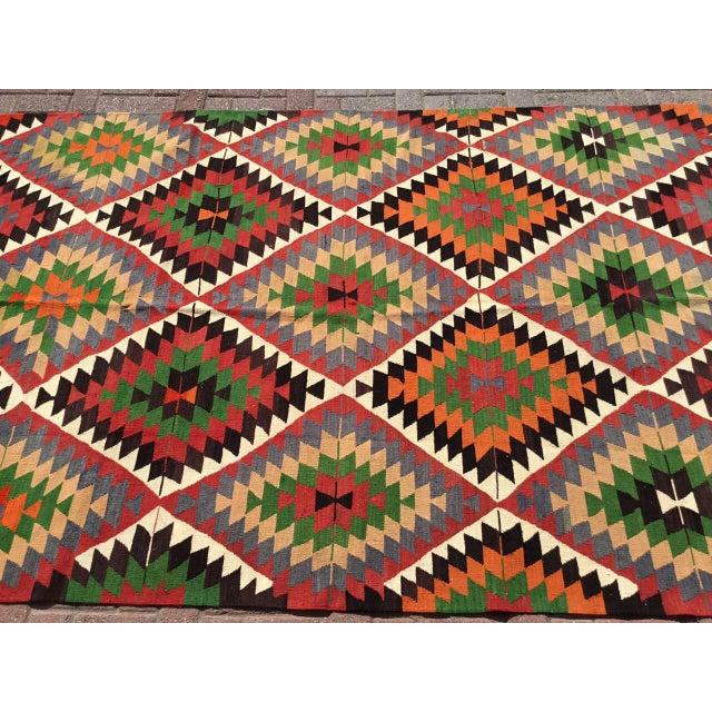 Diamond Vintage Turkish Kilim Rug For Sale - Image 4 of 10