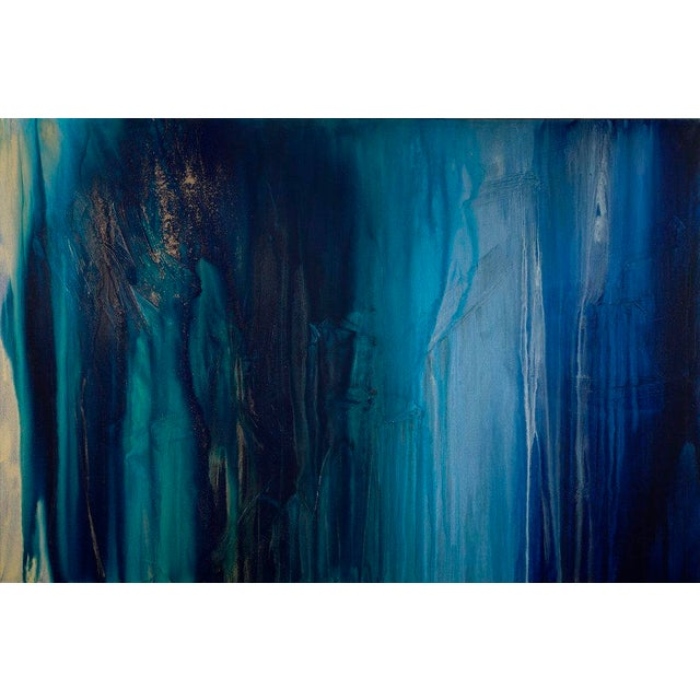 """2010s Contemporary Abstract Painting """"Emeralds & Sapphires"""" by Teodora Guererra For Sale - Image 5 of 5"""