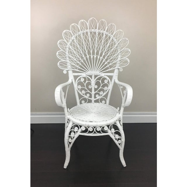 Boho Chic Early 20th Century Antique White Wicker Chair For Sale - Image 3 of 12