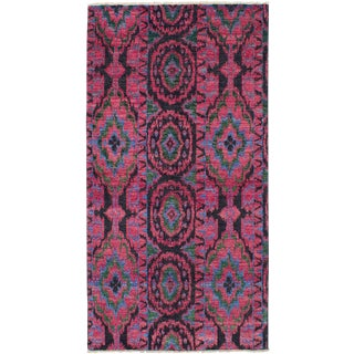 Turkish Pink and Black Rug - 5′ × 9′ For Sale