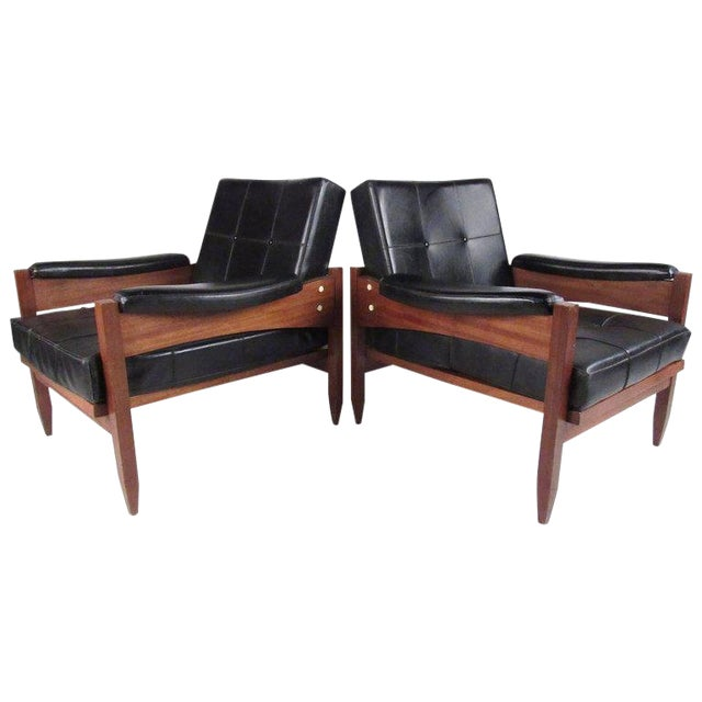 Scandinavian Modern Teak & Vinyl Lounge Chairs - A Pair For Sale