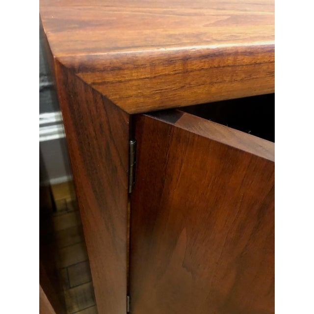 Pair of Mid Century Walnut Nightstands 196s For Sale - Image 4 of 11