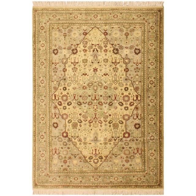 Tabriz Pak-Persian Loren Ivory/Lt. Green Wool Rug - 4'8 X 7'1 For Sale