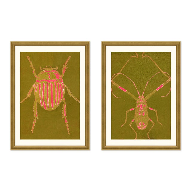 Beetle & Bug Diptych, Bright Series no. 5 by Jessica Molnar in Gold Frame, Large Art Print For Sale - Image 4 of 4