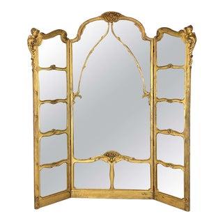 Monumental Belle Époque Carved Giltwood Dressing Mirror, Paris, Circa 1880 For Sale