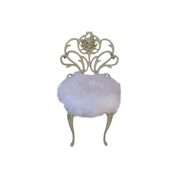 Faux Fur Vanity Stool For Sale - Image 7 of 7