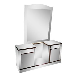 Mid-Century Art Deco Vanity Mirrored Dresser With Mirror For Sale