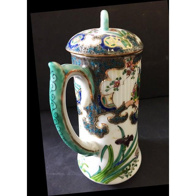 "Ceramic Old H Painted Asian Porcelain Tea Pot 8.75"" H For Sale - Image 7 of 9"