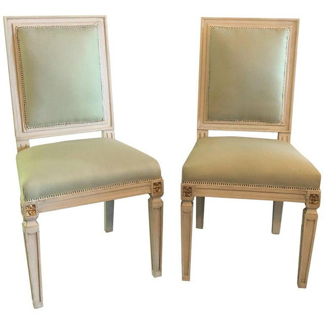 Set of 24 Jansen Inspired Gilt and Paint Decorated Side Chairs For Sale - Image 12 of 12