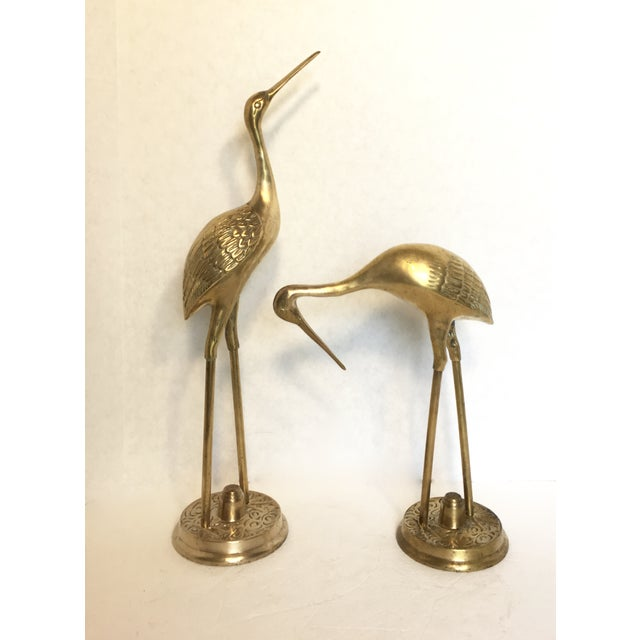 Hollywood Regency Brass Cranes - A Pair - Image 3 of 5