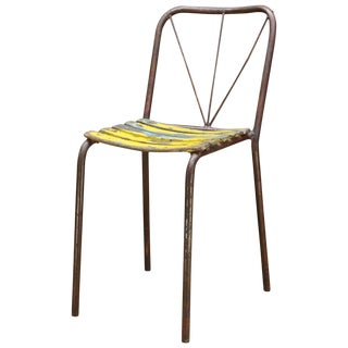 Antique 1920s French Bistro Cafe or Poolside Chair Vintage Mid-Century For Sale