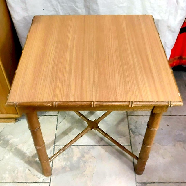 1950s Vintage Aesthetic Movement R J Horner Wood Formica Topped Faux Bamboo Rattan Side Table For Sale - Image 5 of 8