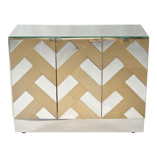 Mid-Century Ello Chrome and Brass Cabinet For Sale