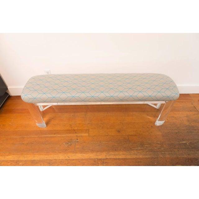 Karl Springer Style Lucite Bench - Image 4 of 8