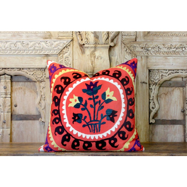1940s Ada Suzani Throw Pillow For Sale - Image 5 of 6