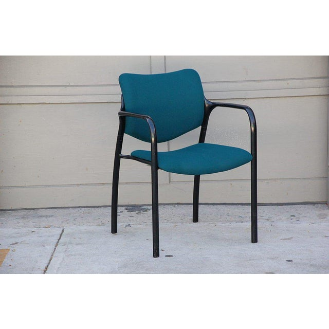 Set of 4 modern dining chairs by Mark Goetz for Herman Miller. Very comfortable. Standard 18 in. seat height. Stackable.