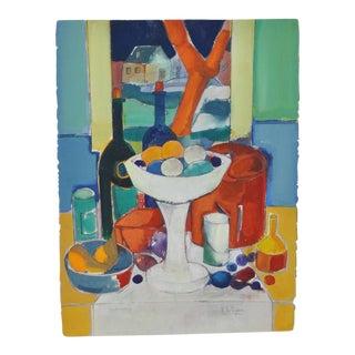 """Rene Couturier """"Le Compotier"""" Original Watercolor C.1970s"""