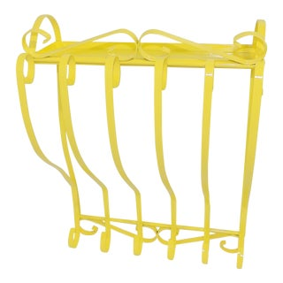 Antique Electric Yellow Wrought Iron Patio Shelf For Sale