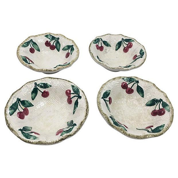 Italian Ceramic Cherries Dessert Bowls - Set of 4 For Sale