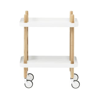 White Block Table Rolling Cart - Retail $280