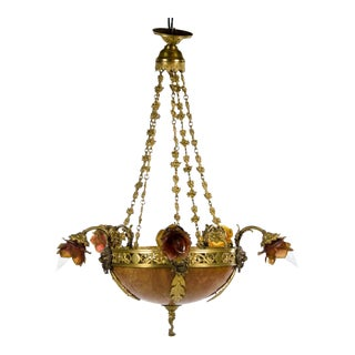19th Century French Louis XVI Style Floral and Bronze 5 Light Chandelier For Sale