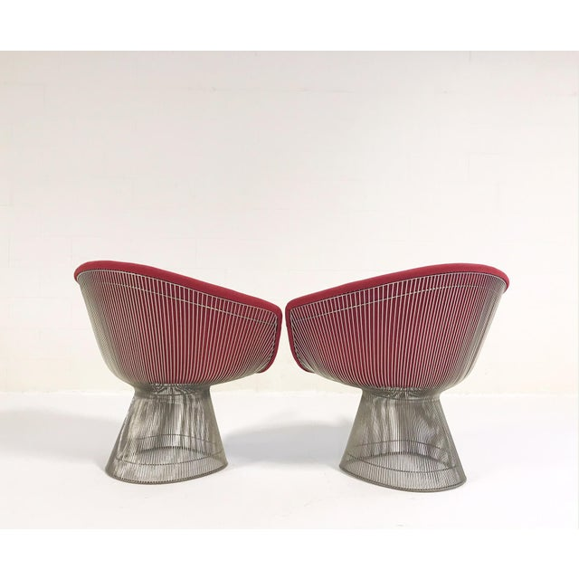 Warren Platner for Knoll Lounge Chairs Restored in Loro Piana Red Cashmere - Pair For Sale - Image 10 of 13