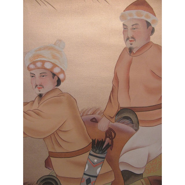 White Painted Hunting Scene Mural Wallcovering For Sale - Image 8 of 12