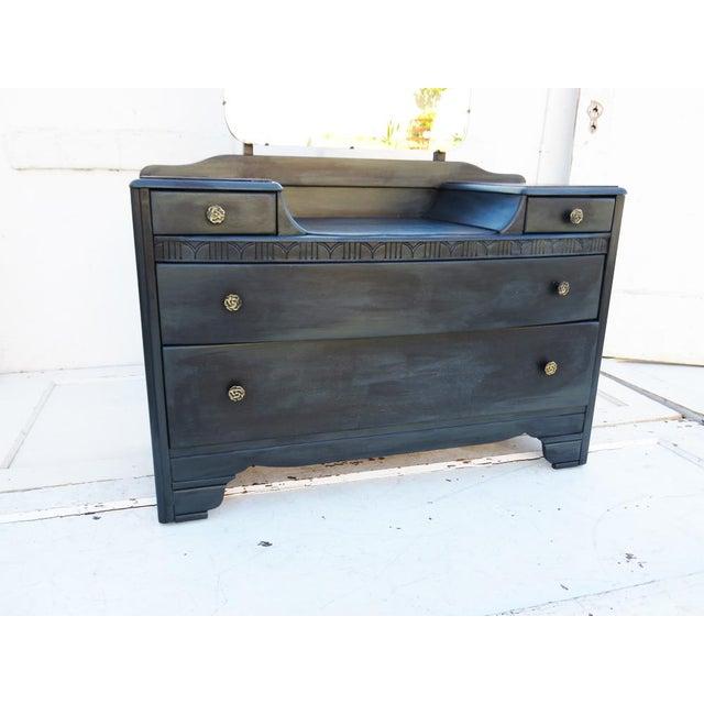 Vintage 1940's Dark Gray / Midnight Vanity Dresser & Mirror - Image 3 of 5